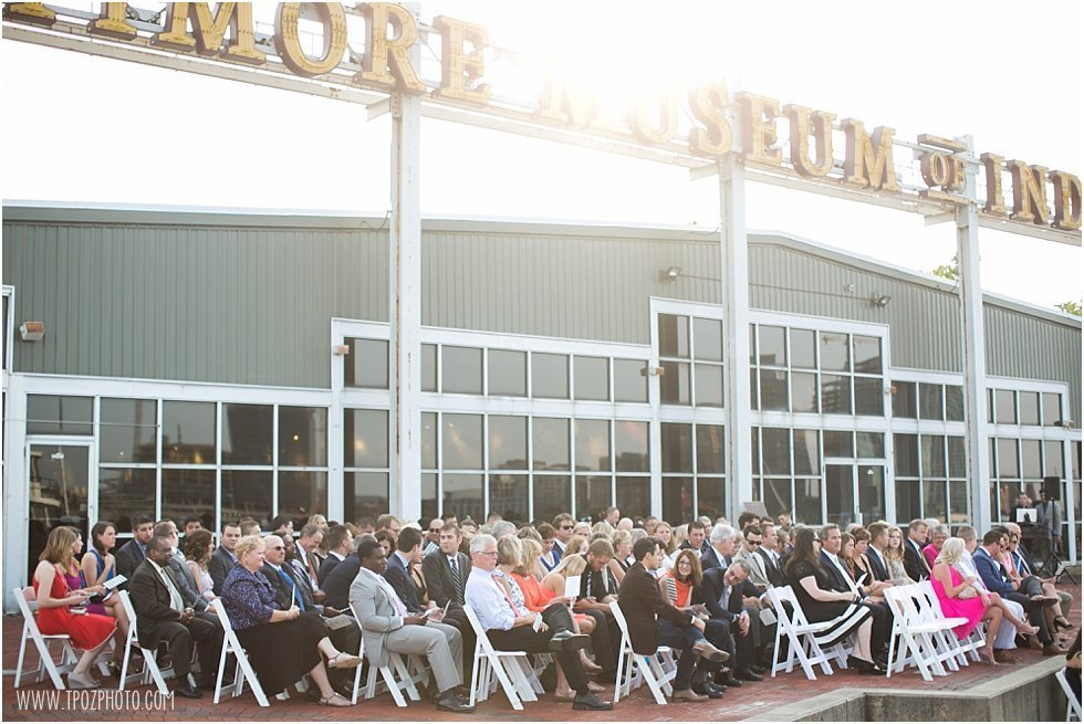 Baltimore Museum of Industry Wedding ceremony on the patio