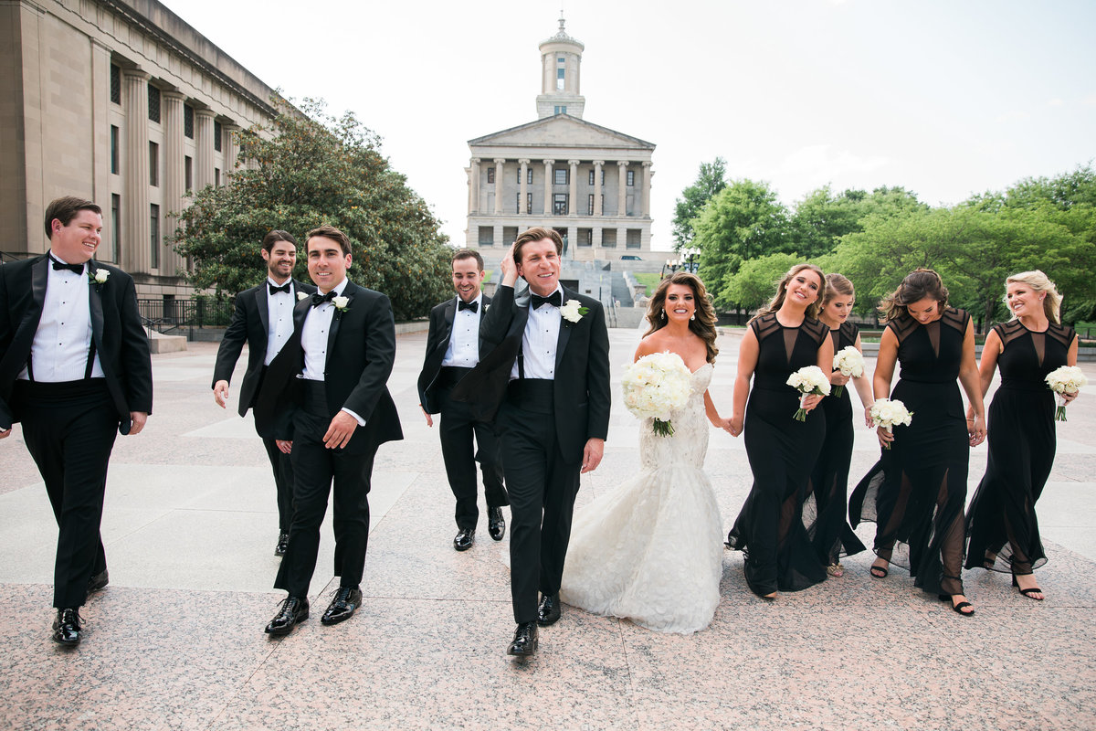 Wedding party at the capital in nashville.