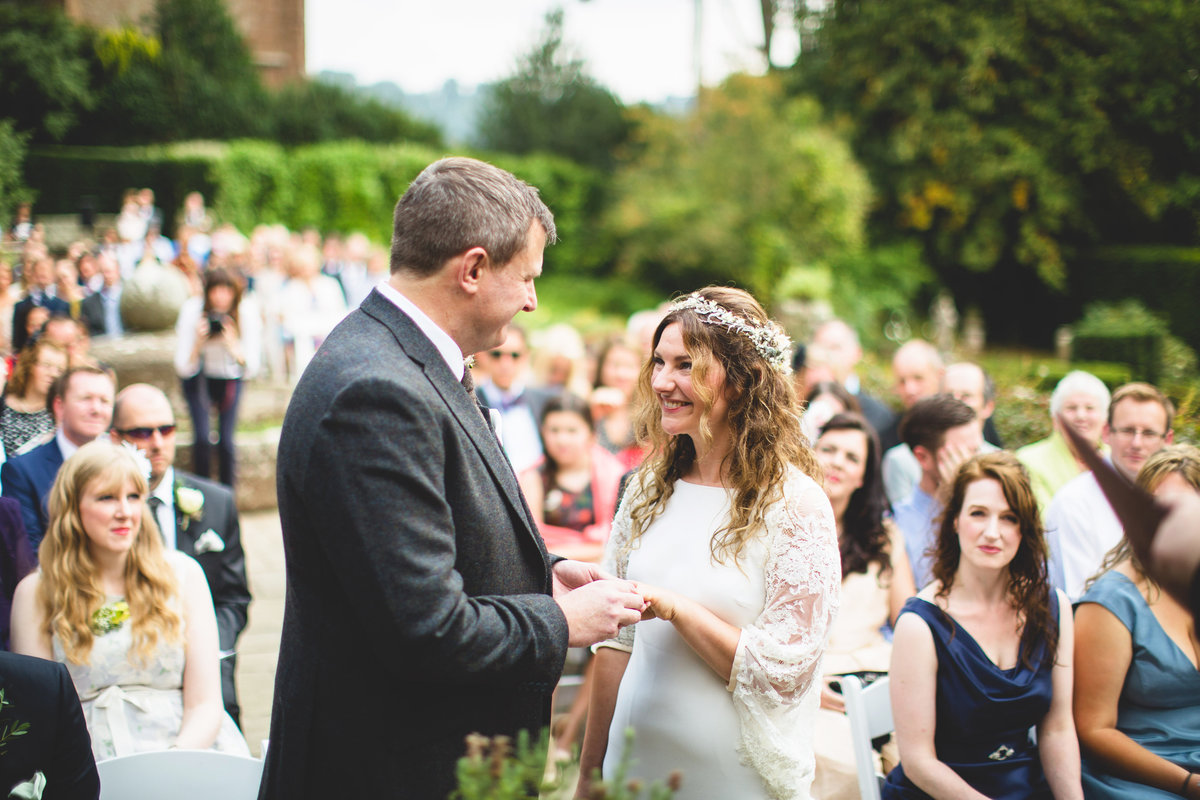 outdoor wedding ceremony at how caple court hertfordshire