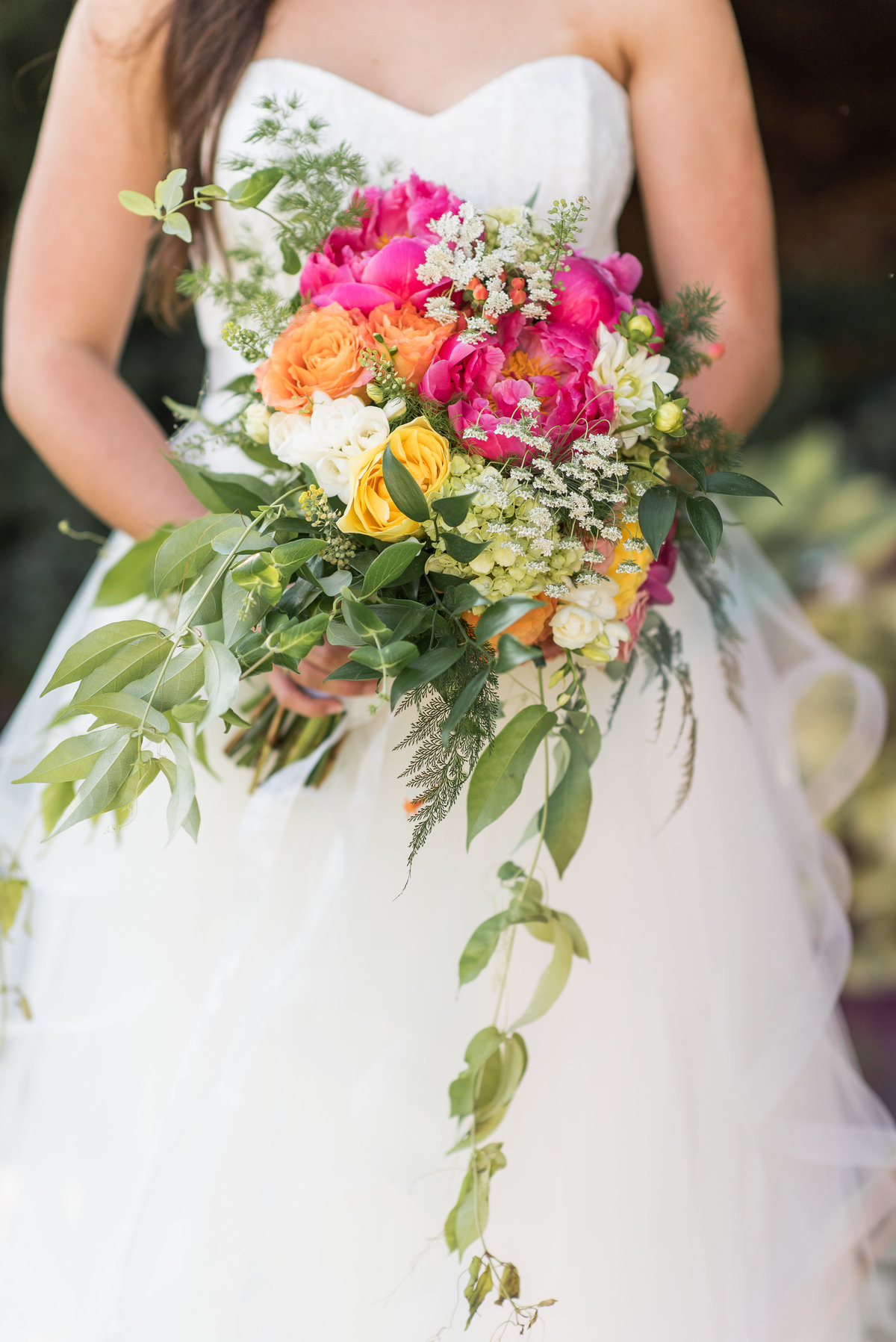 bride with garden bouquet