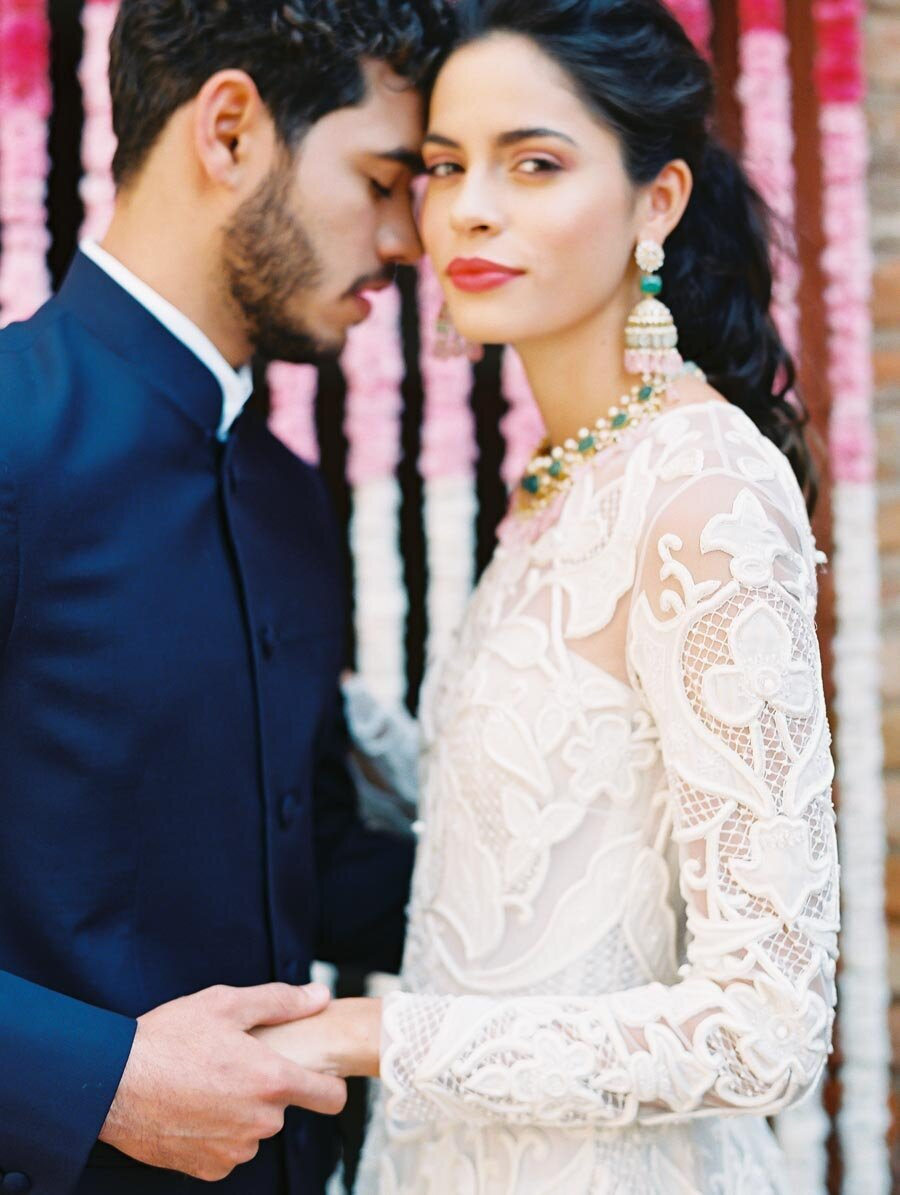 Indian Elopement Ceremony Bridelan Flower Garland Backdrop Naeem Khan Bonnie Sen Photography