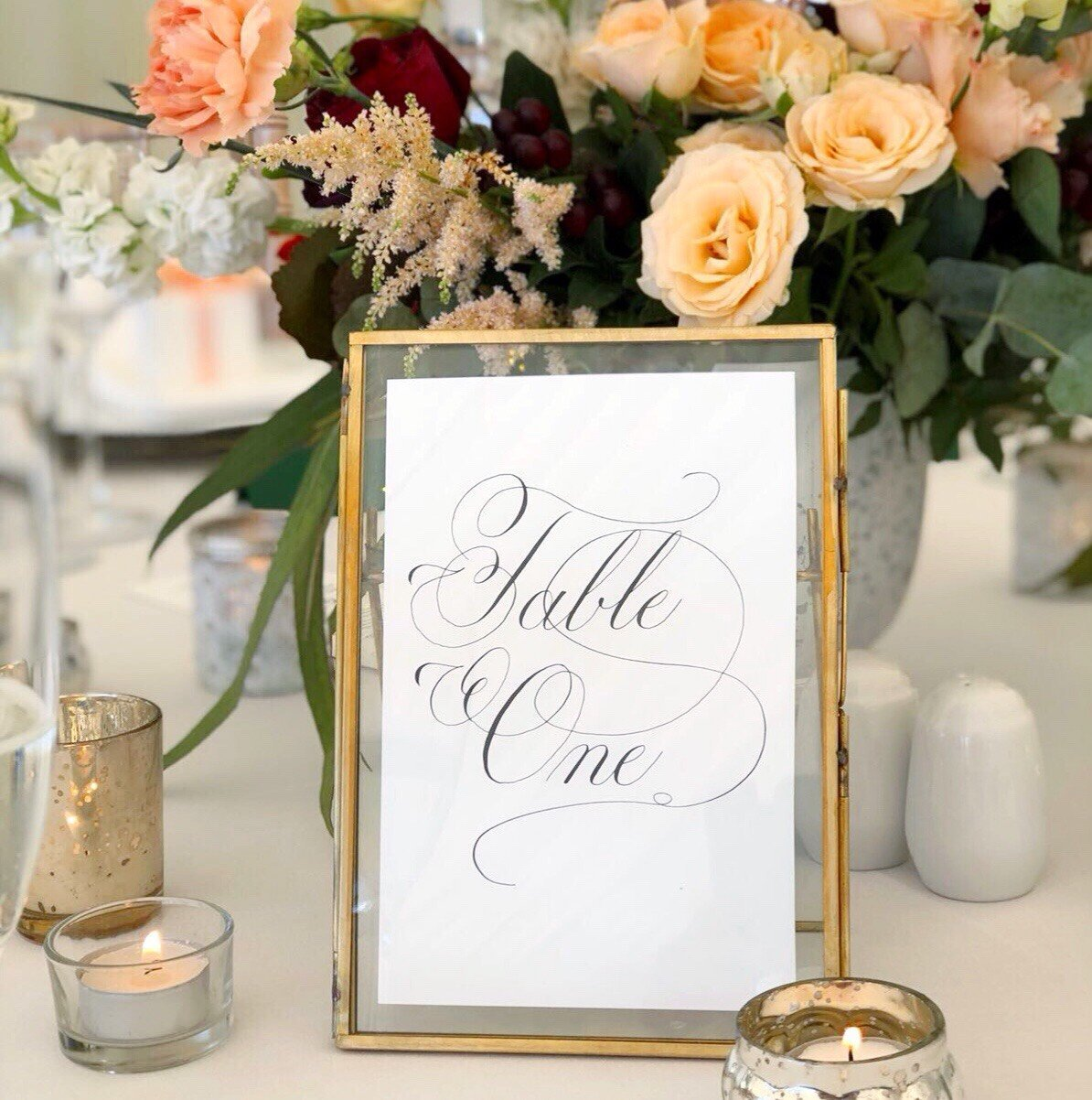 Table Number Sign in Calligraphy