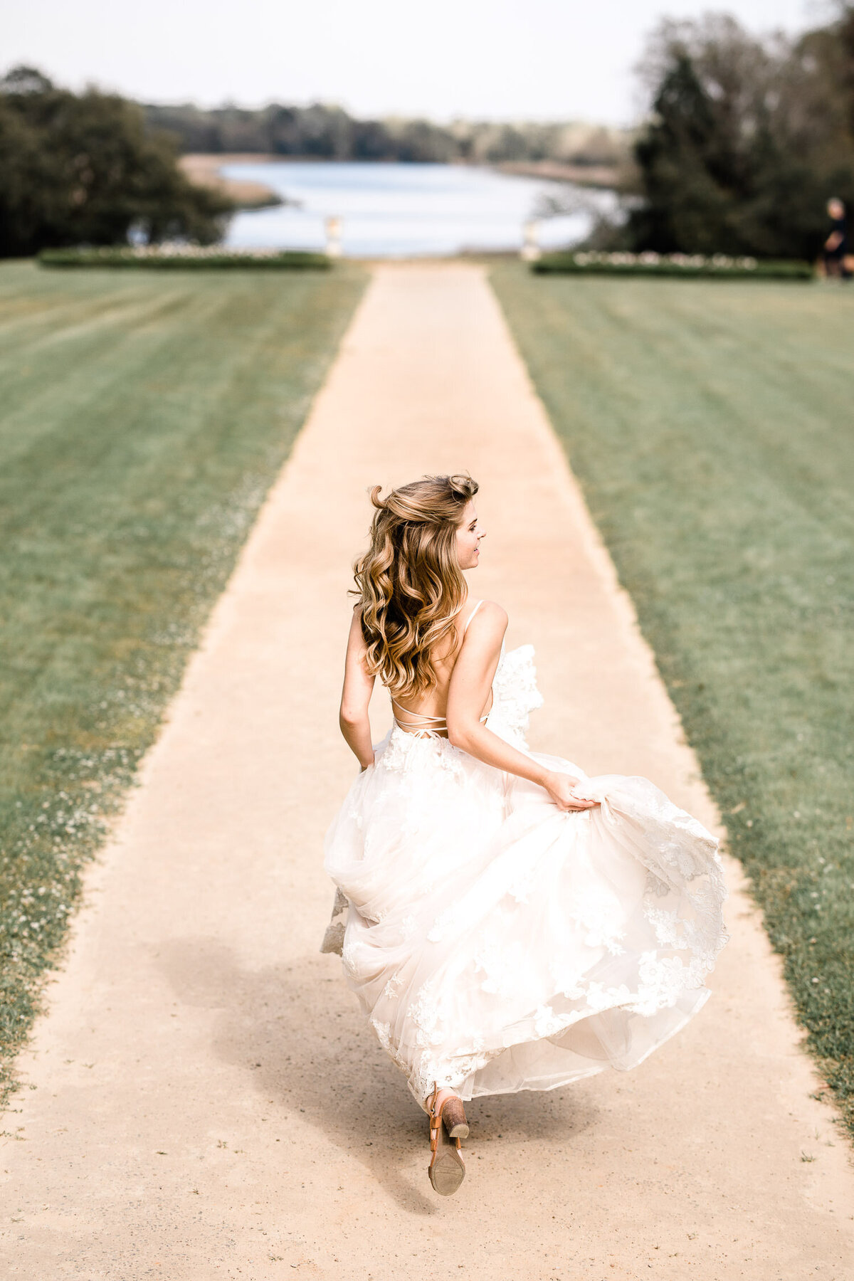 Bride running at Middleton place