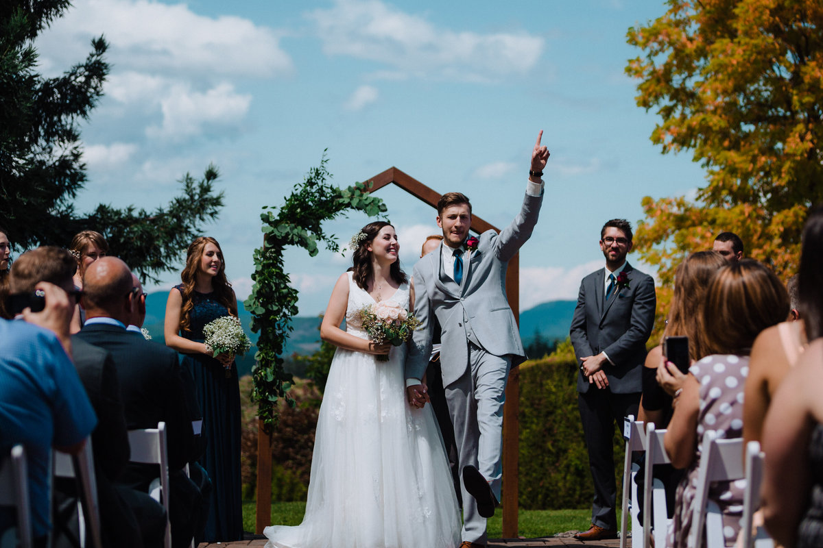Got the girl fist pump after getting married