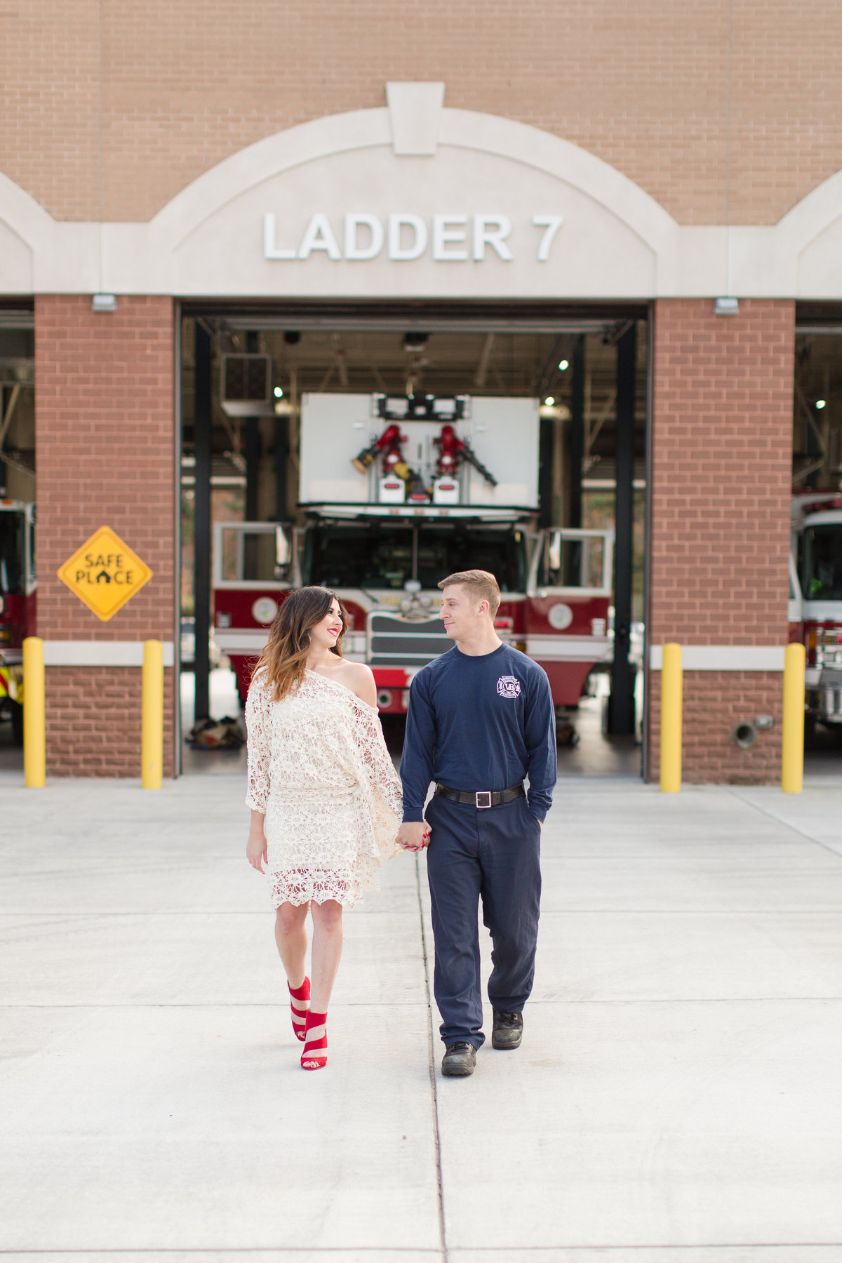 engagement pictures at a fire station in virginia beach