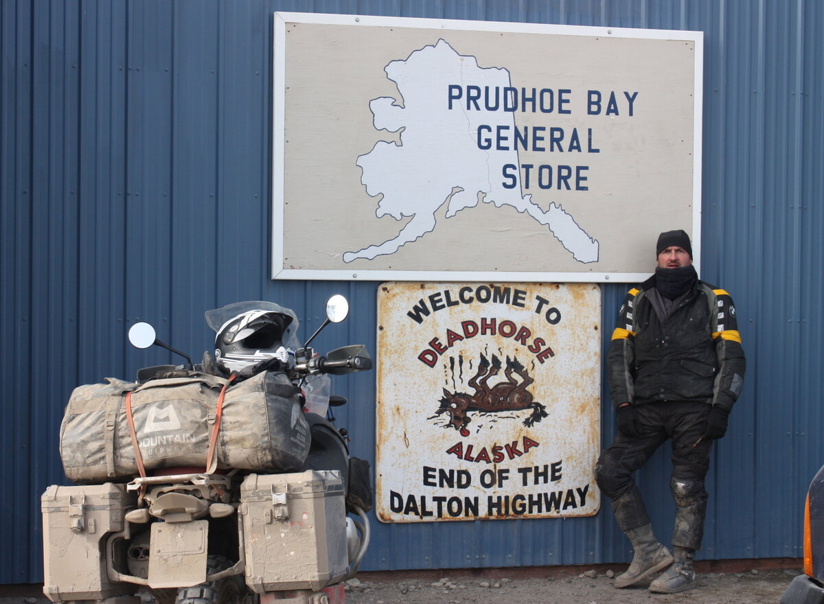 Harry Farthing running out of road in Prudhoe Bay, Alaska