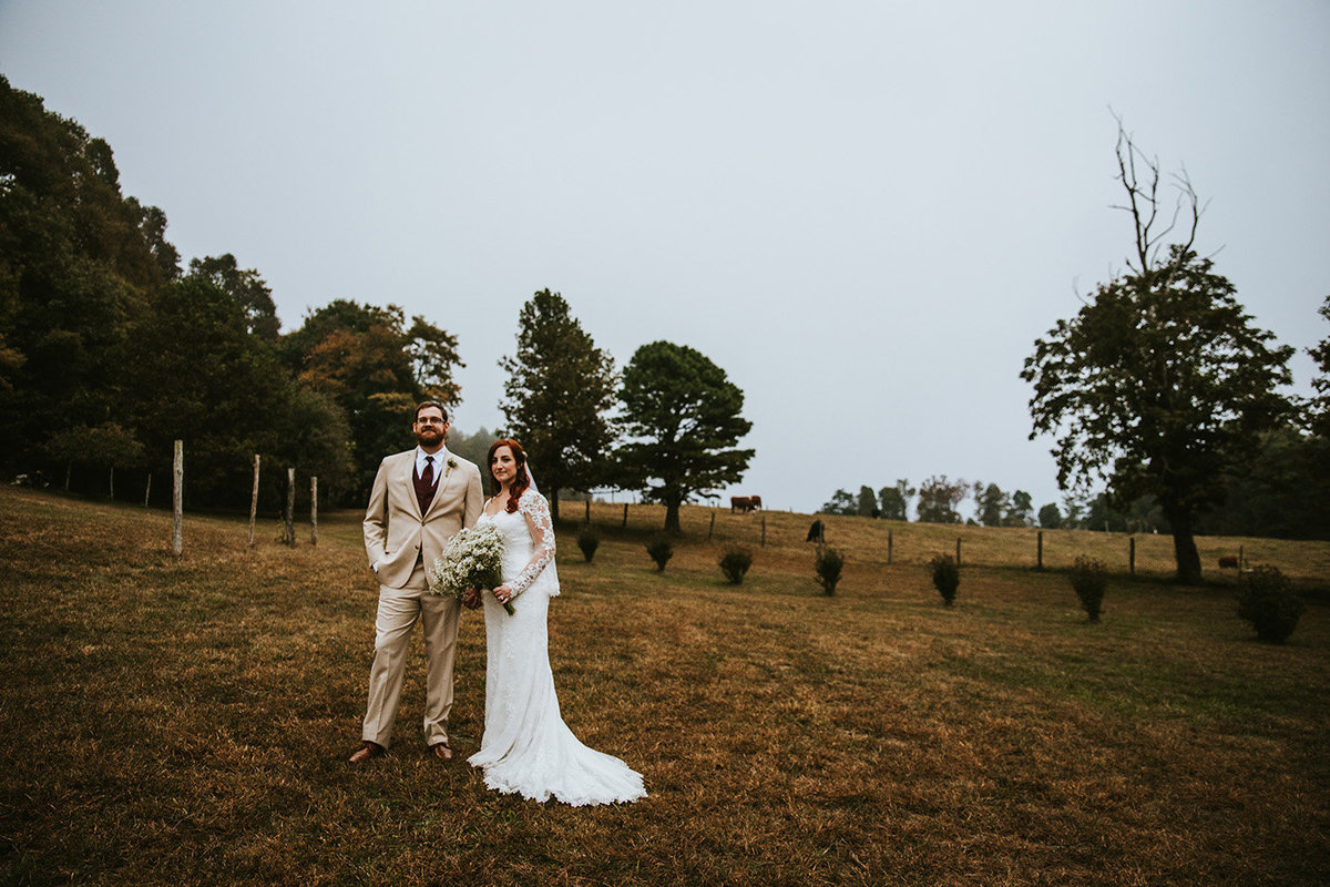wedding couple in a field in North Carolina