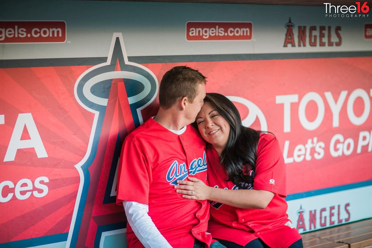 Angel Stadium Engagement Photos Orange County Wedding