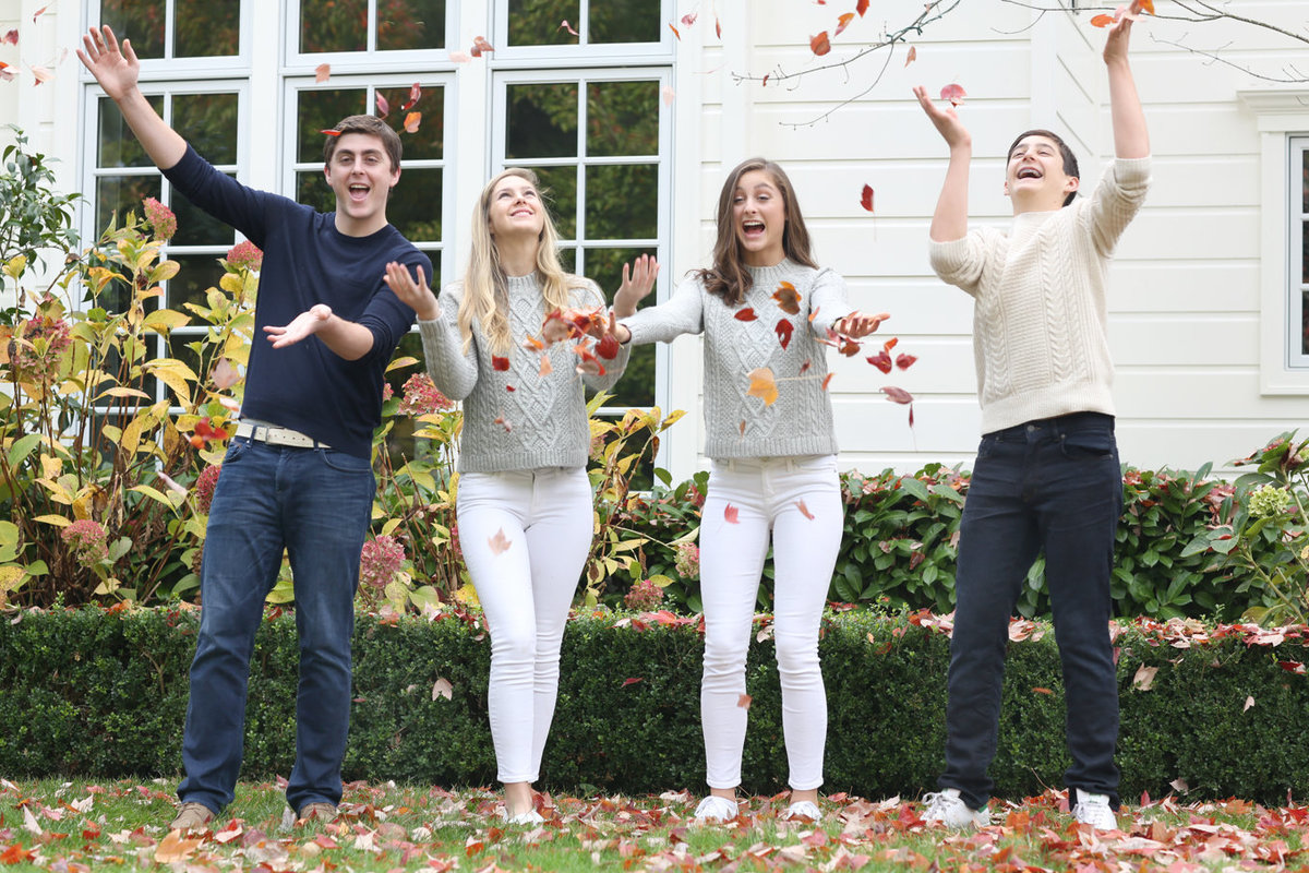 Teenagers home for Thanksgiving Fall Photoshoot