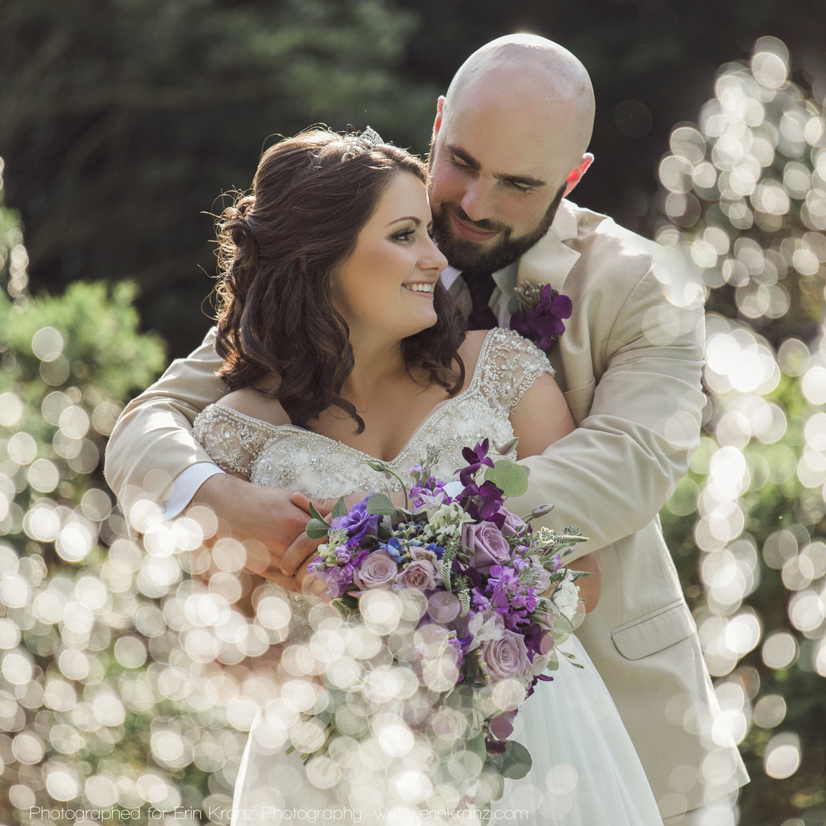 charlotte wedding photographer jamie lucido captures a beautiful image of the bride and groom's first look at the Barclay Villa in Raleigh North Carolina