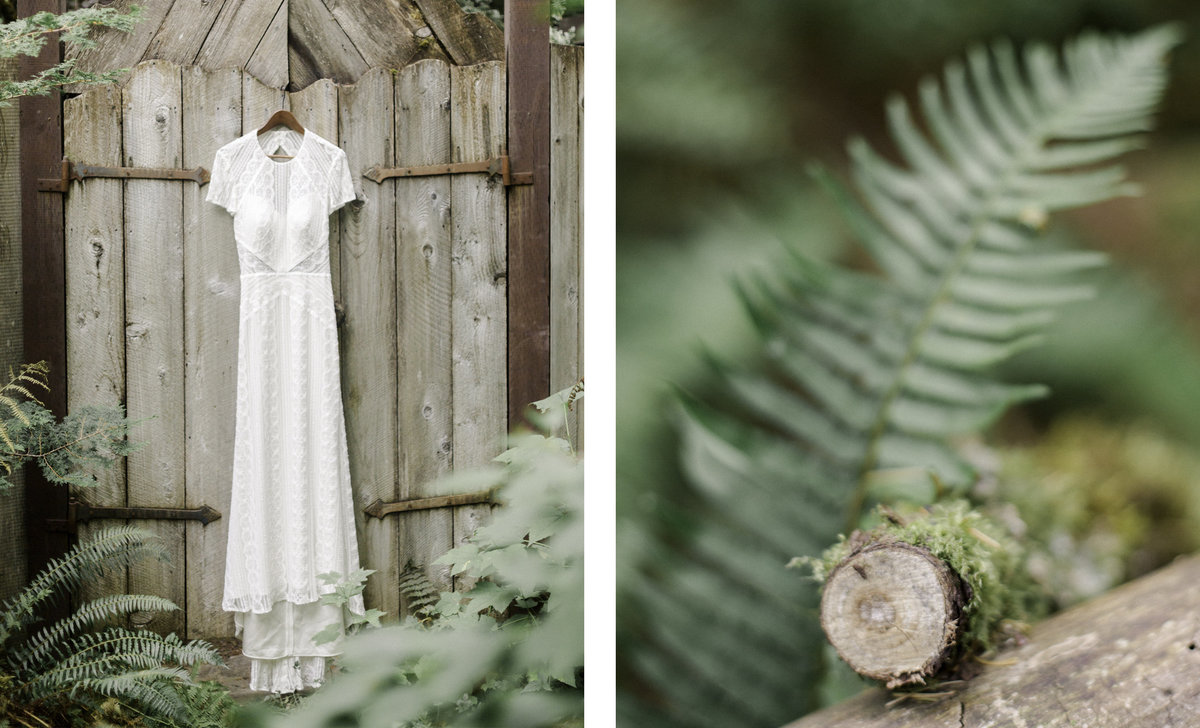 two images one of a wedding dress hung on a wooden door and another photo of the wooden gate with ferns from forest floor