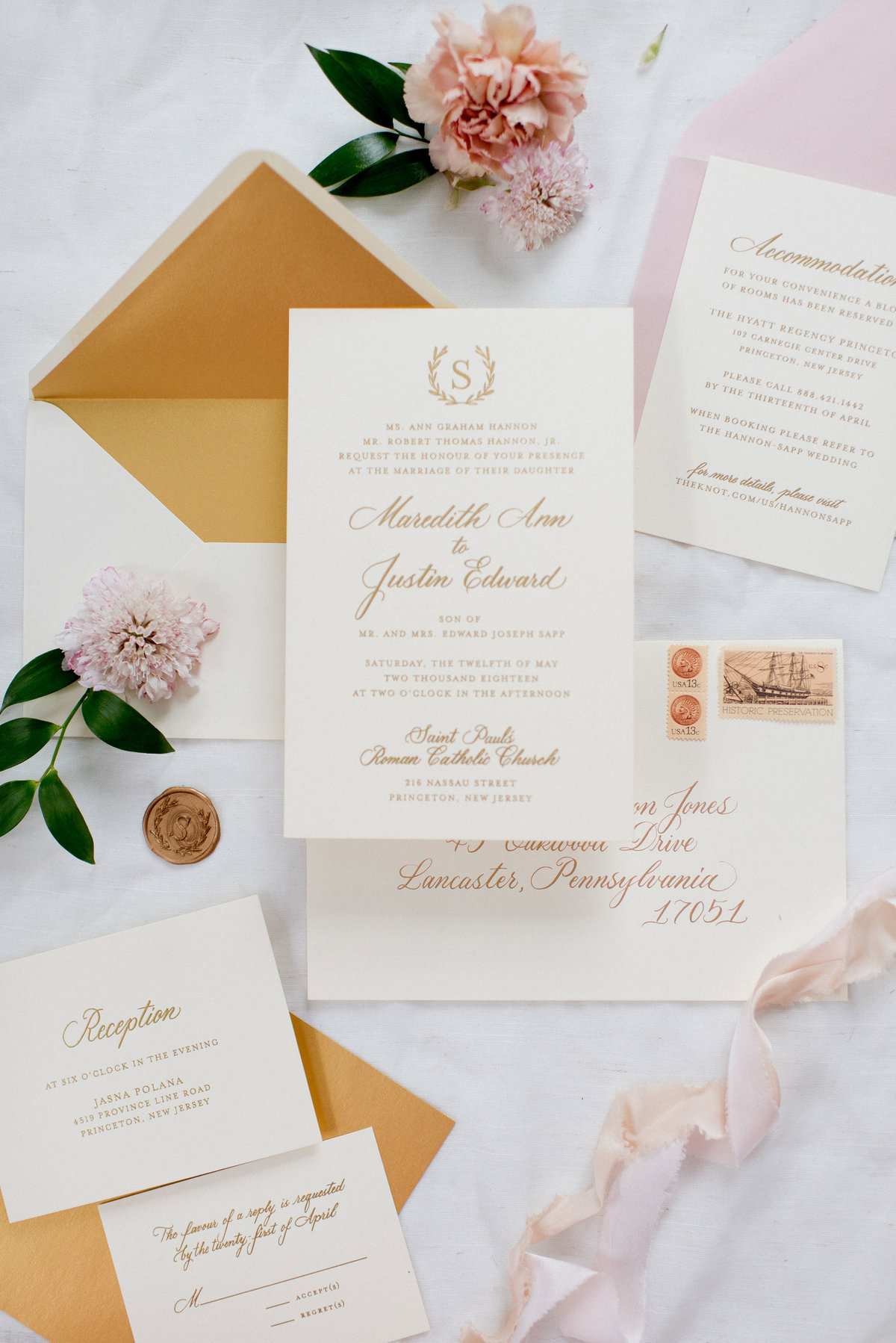 Gold ink with custom calligraphy wedding invitation suite