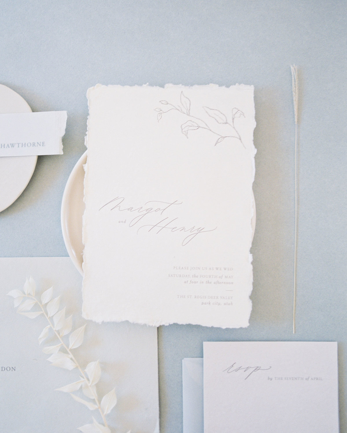 Dominique Alba Minimalist wedding invitation collection Flora invitation card with floral sketches