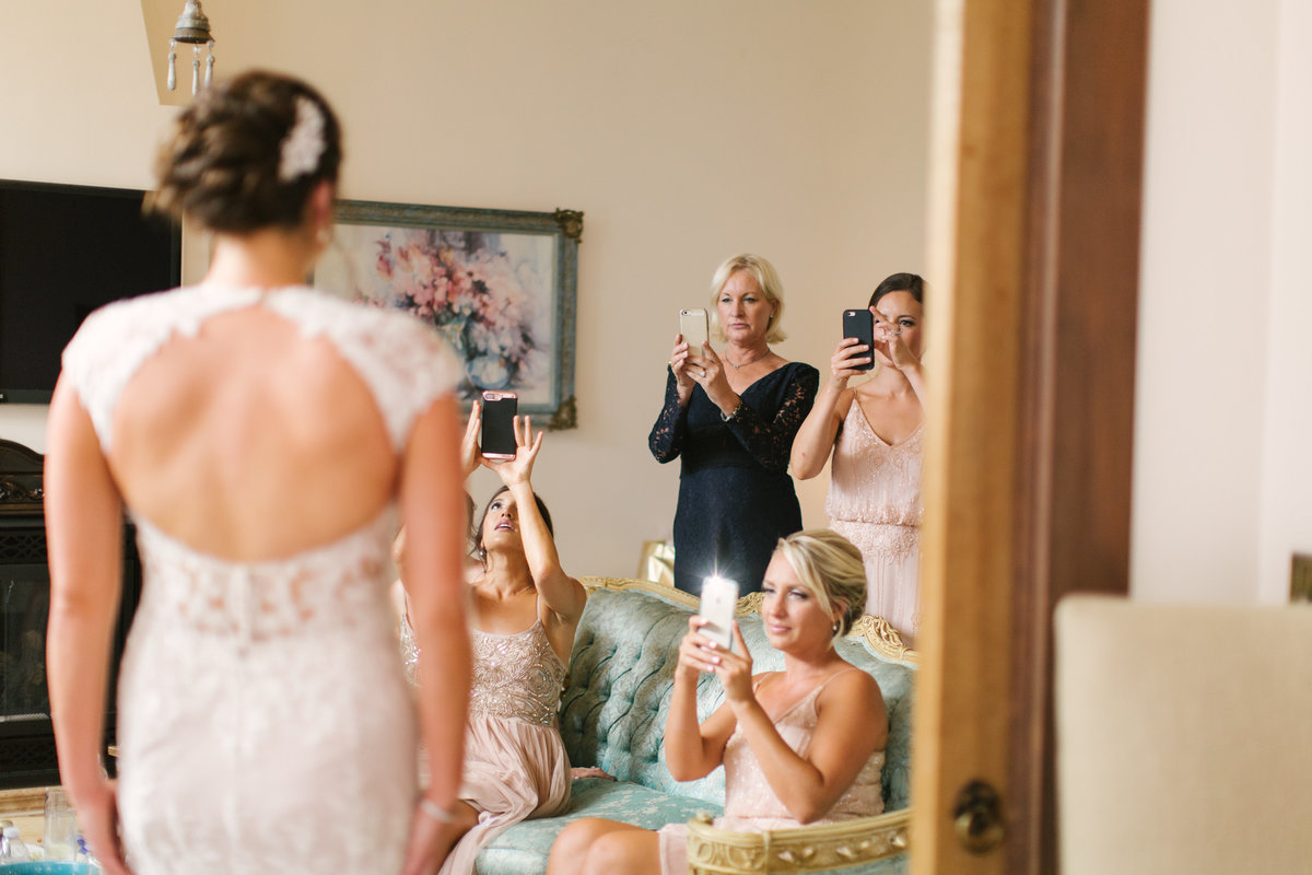 First look with bridesmaids at 1880 Union Hotel Wedding
