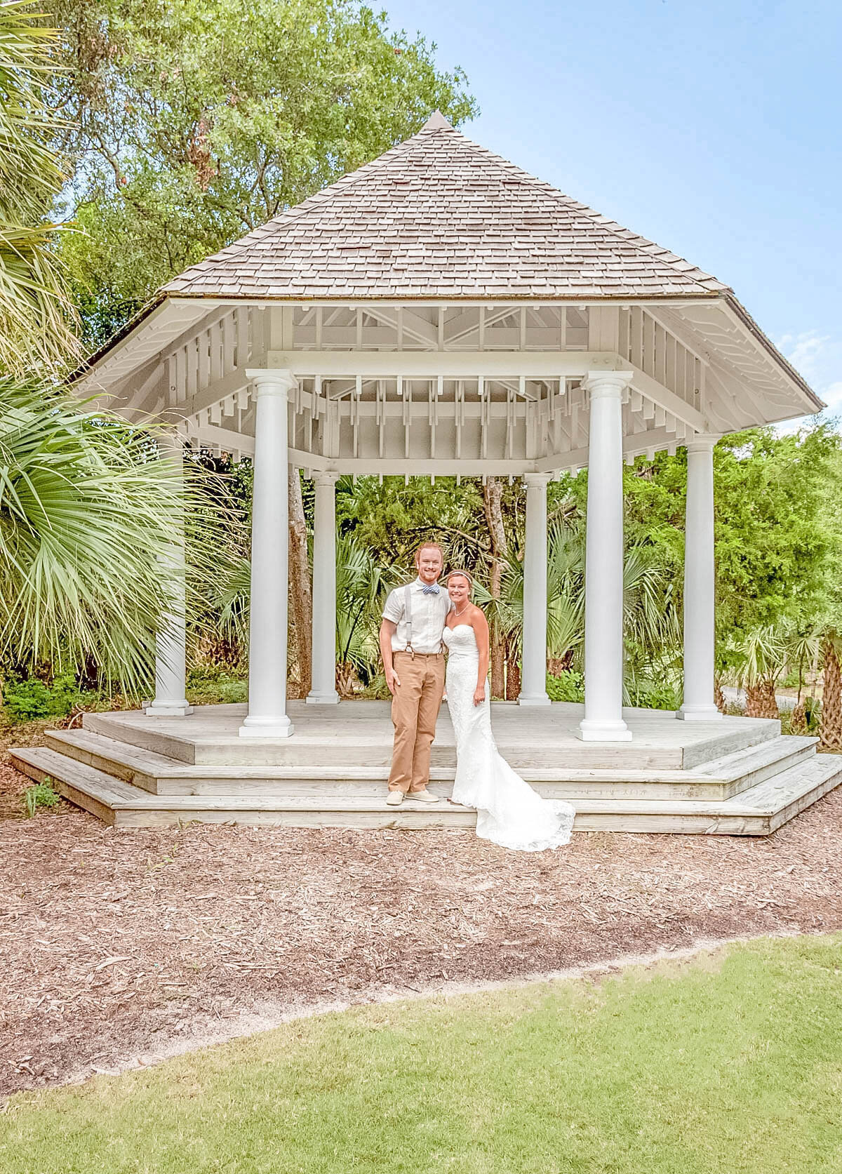 Bald Head Island Wedding Photography - Anna and Ray - Beach Gazebo Portrait - Wilmington Photographers Team
