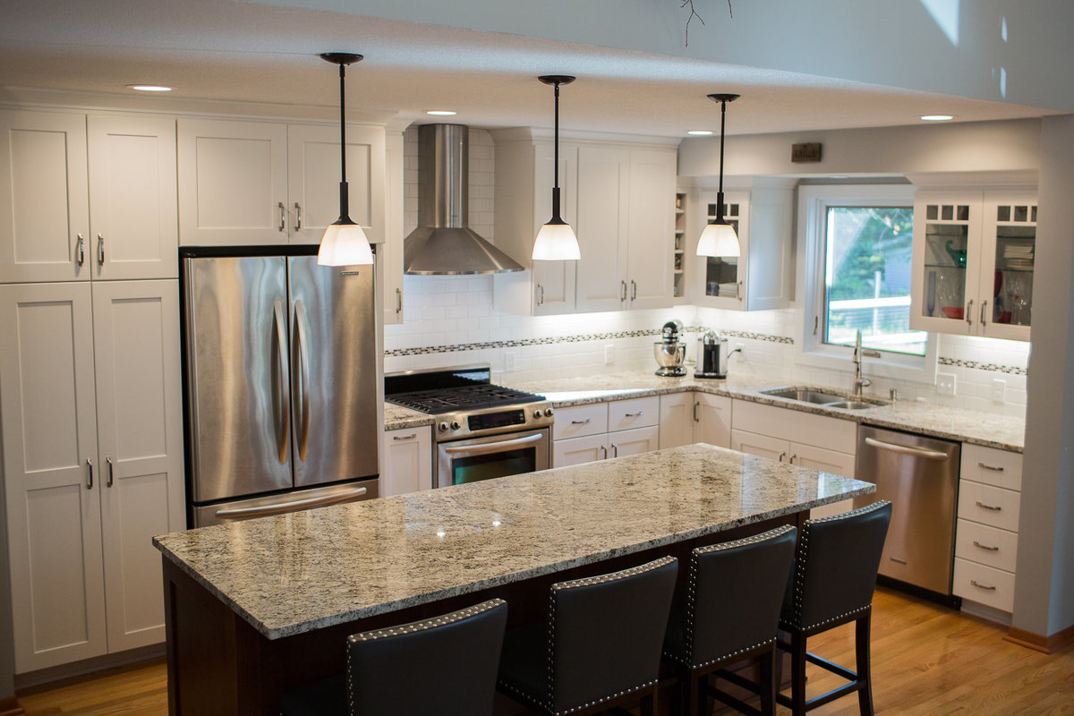 kasson remodel white kitchen with dark wood island