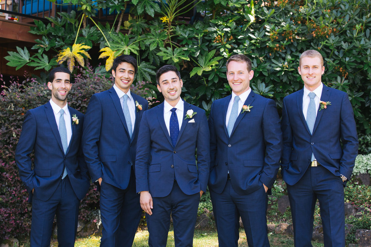Groomsmen in blue suits, Nevada City, Ca