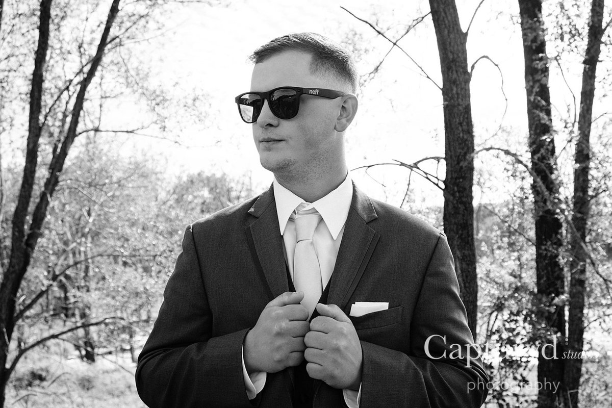 Groom in sunglasses