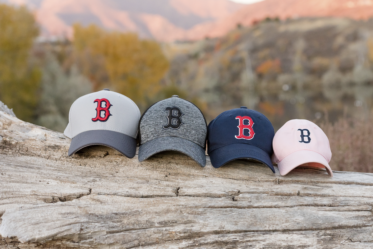 boston redsoxs baseball caps during family session in layton utah