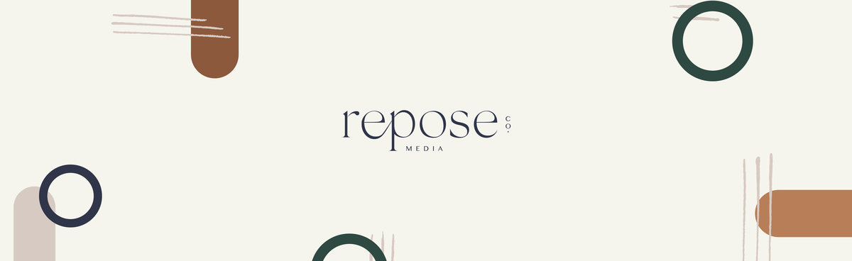 Repose Co. Media primary brand logo and pattern