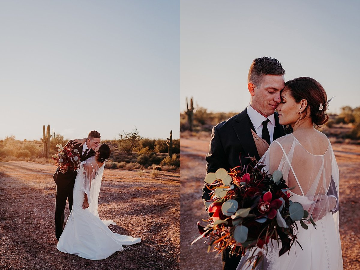 Groom dipping the bride as he kisses her in the desert at The Paseo wedding venue