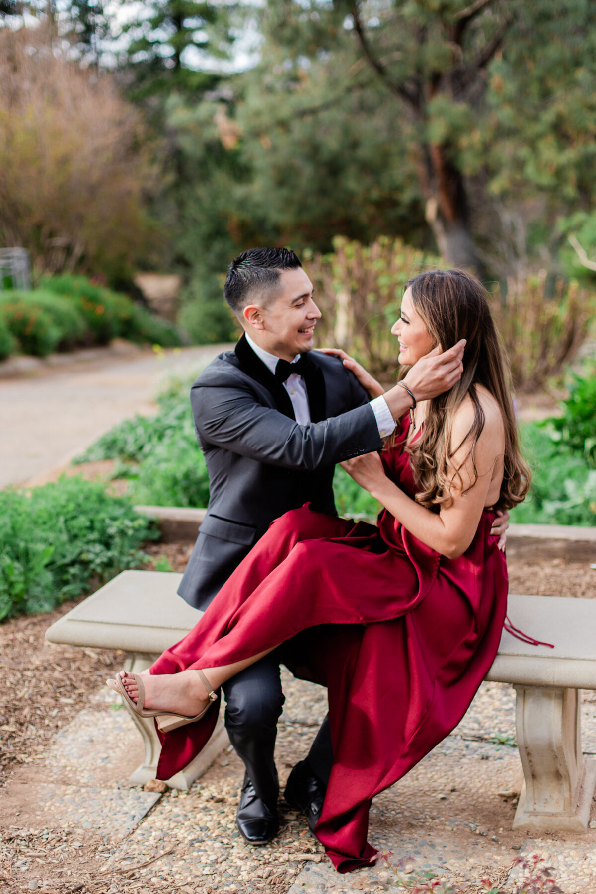 UC Riverside Botanical Gardens, Engagement Photography, Riverside Phototgrapher, Garden Engagement, Couple Photography, Red Dress-74