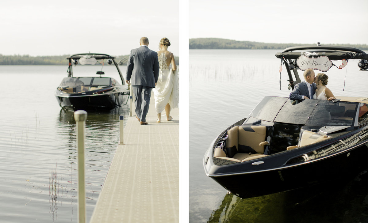 bride and groom getaway boat after wedding ceremony