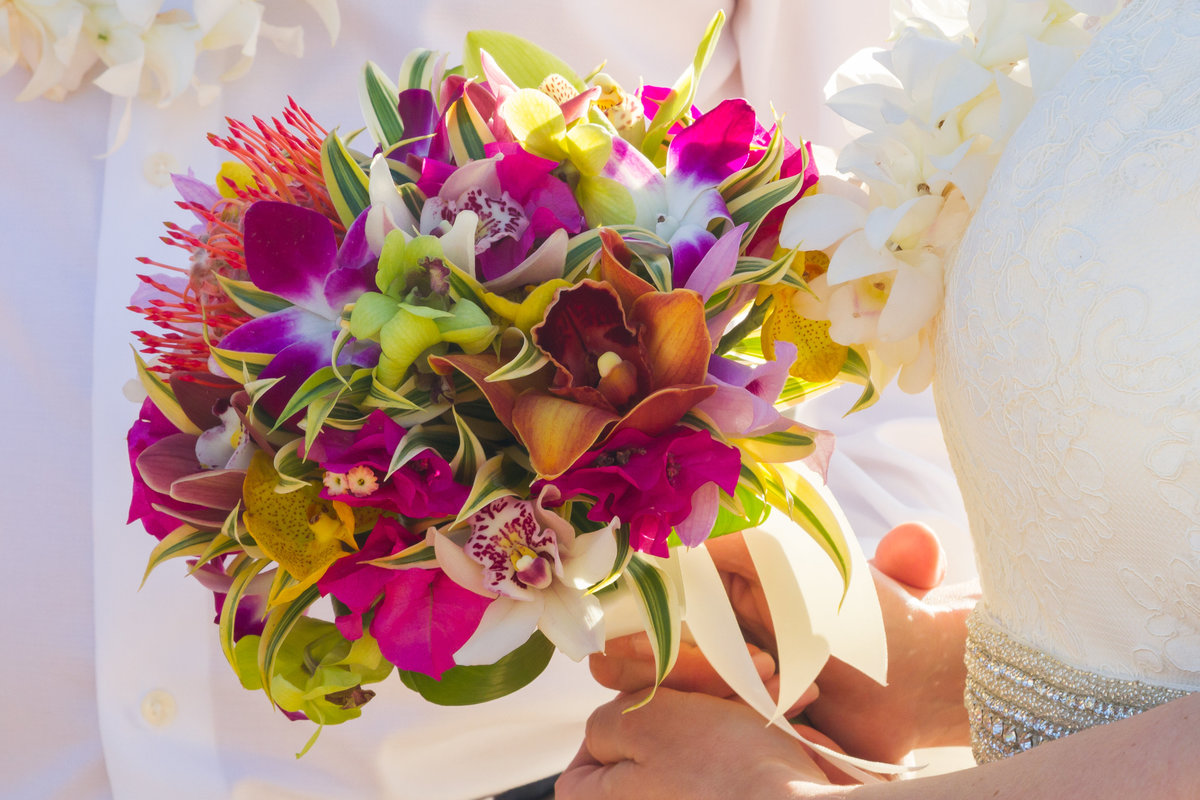 Colorful and tropical bouquet for Kauai bride.