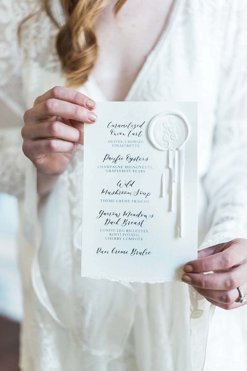 wedding menu wax seal calligraphy