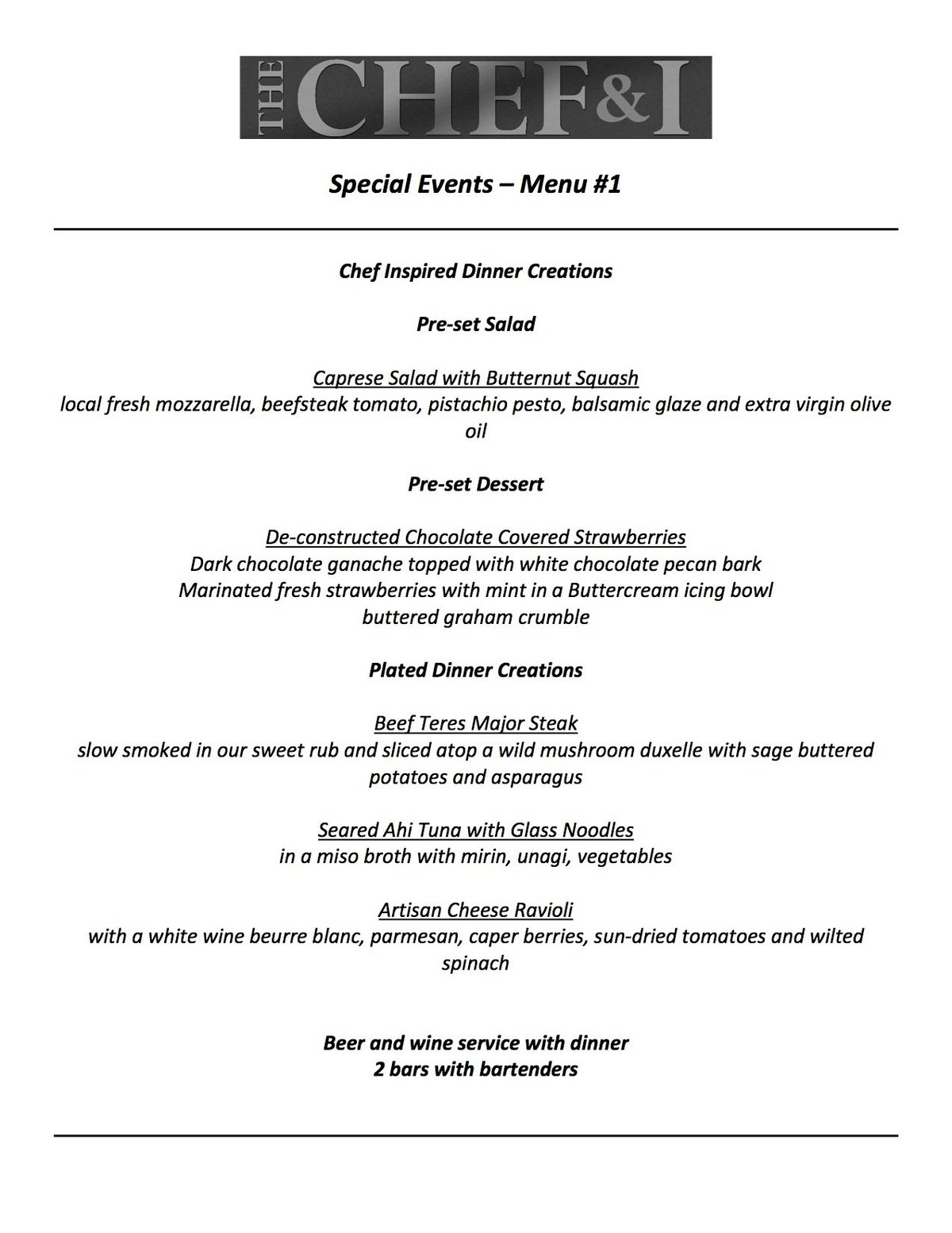 Special Events Menu 1