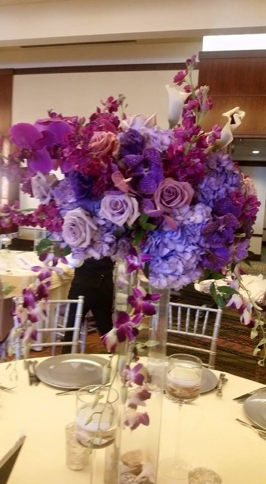 Purple asymmetric tall centerpiece