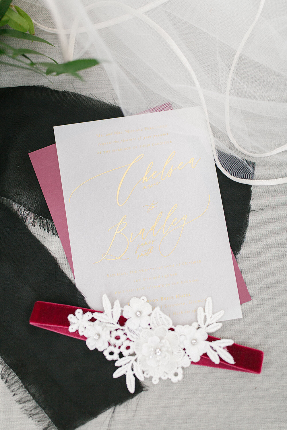 vellum burgundy gold foil wedding invitation savannah georgia monogram 13