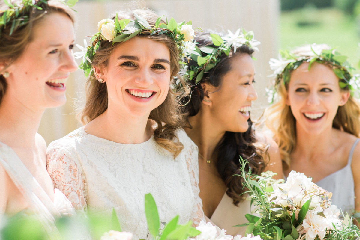 bridesmaids, floral hair wreath