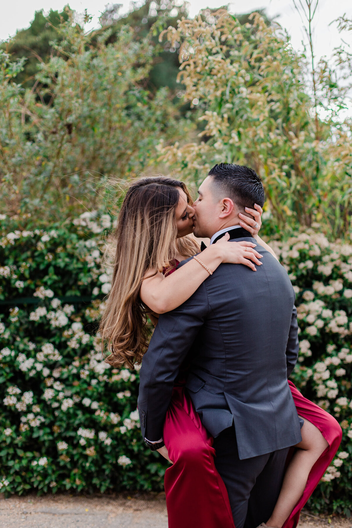 UC Riverside Botanical Gardens, Engagement Photography, Riverside Phototgrapher, Garden Engagement, Couple Photography, Red Dress-71