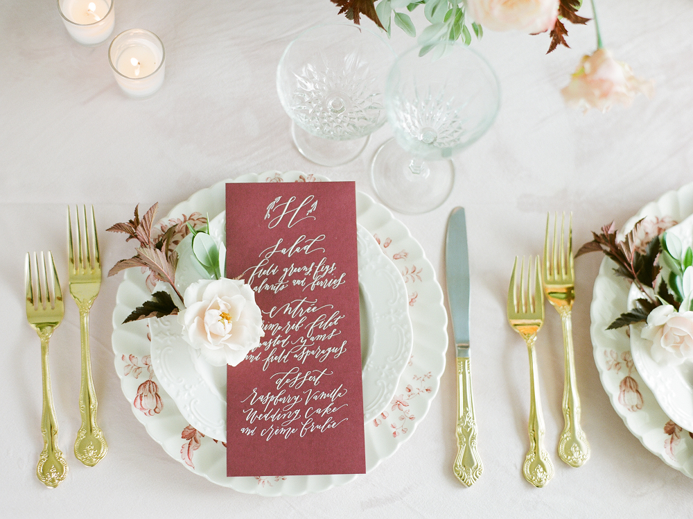 Burgundy and Blush Wedding Inspiration Styled Shoot Menu and Table Setting