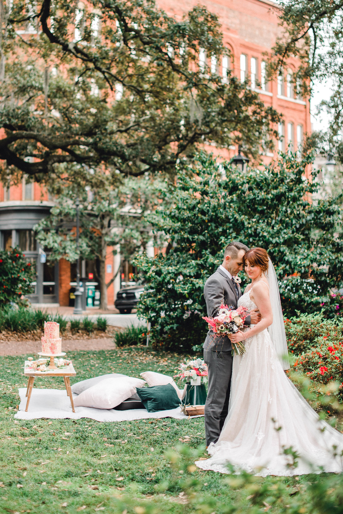 Wright Square Savannah Wedding Old town trolley spring bride and groom