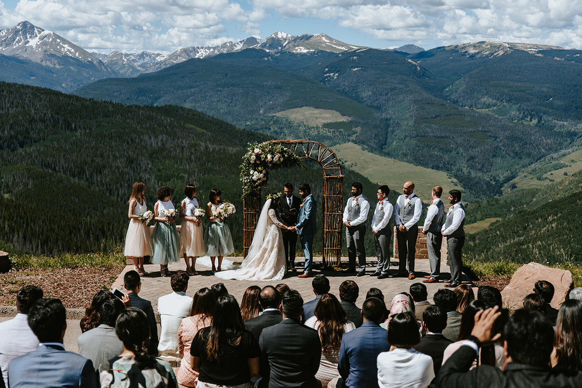 wedding at the Vail Wedding deck in Vail Colorado