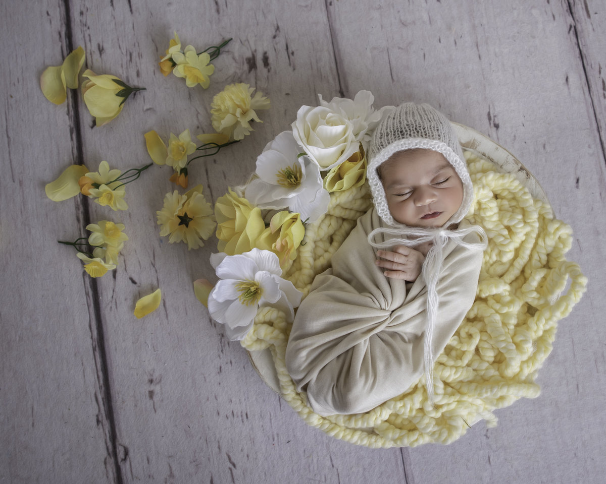 newborn  baby in a bowl