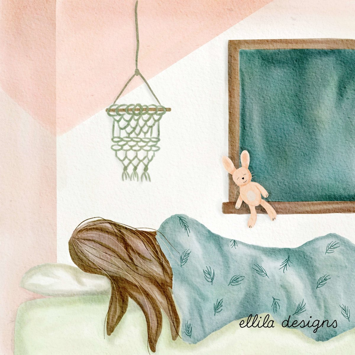 Sleeping girl illustration Ellila Designs