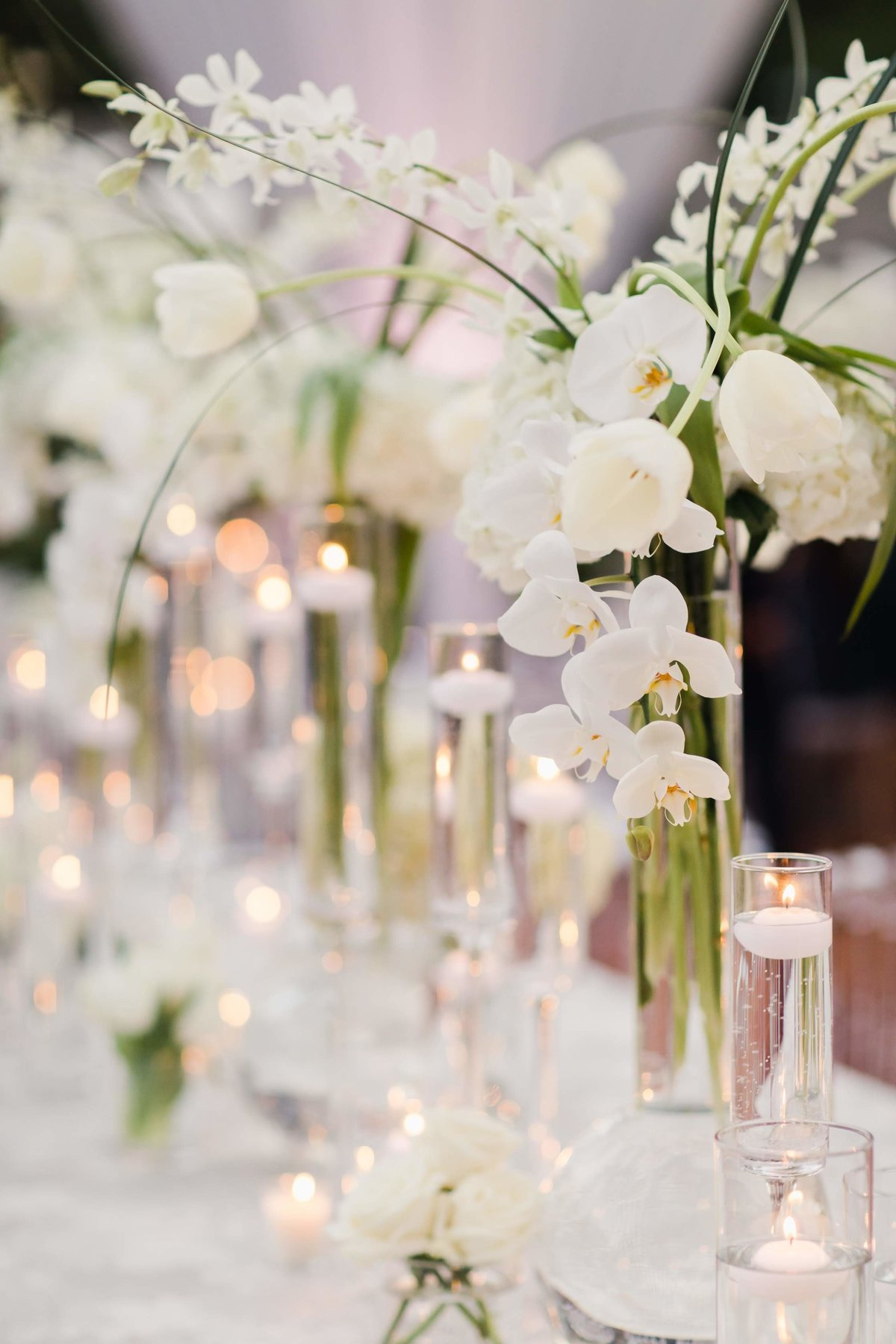 garden wedding table centerpieces orchids candles