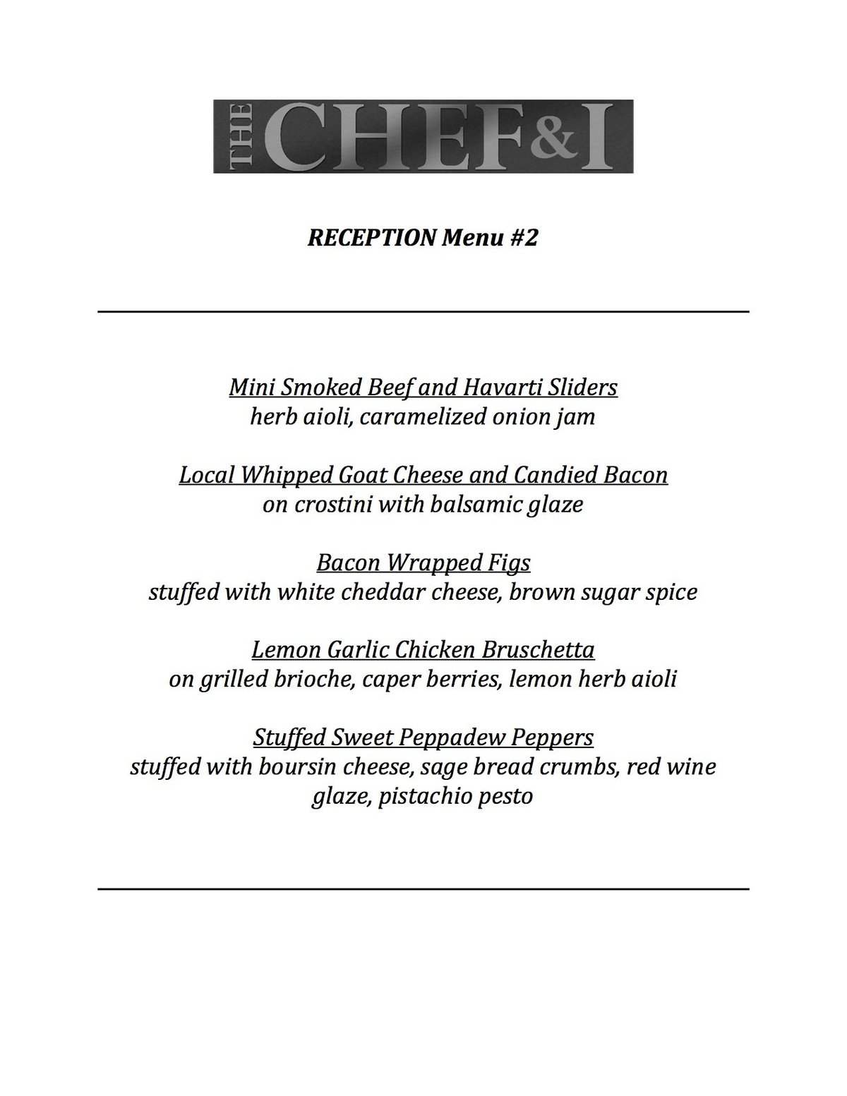 Reception Menu 2