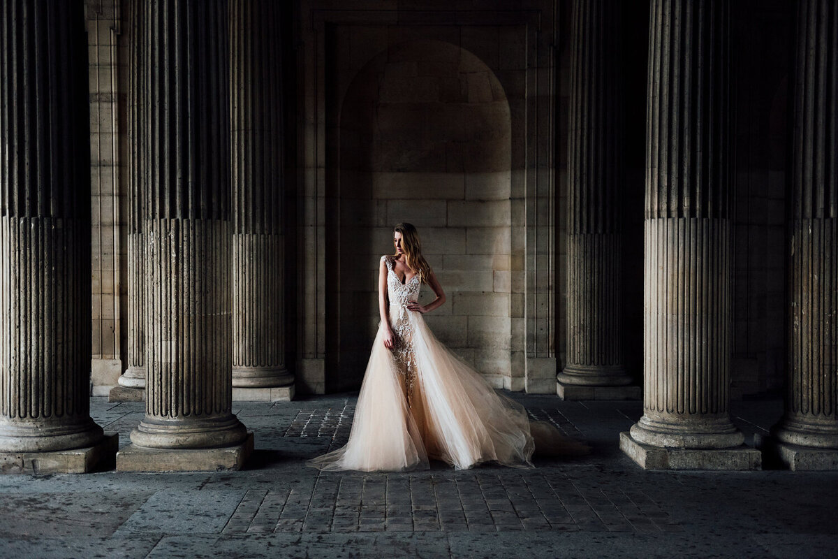 Katie Mitchell, Monique Lhuillier Bridal Paris France Wedding Trine Juel Hair and makeup 8