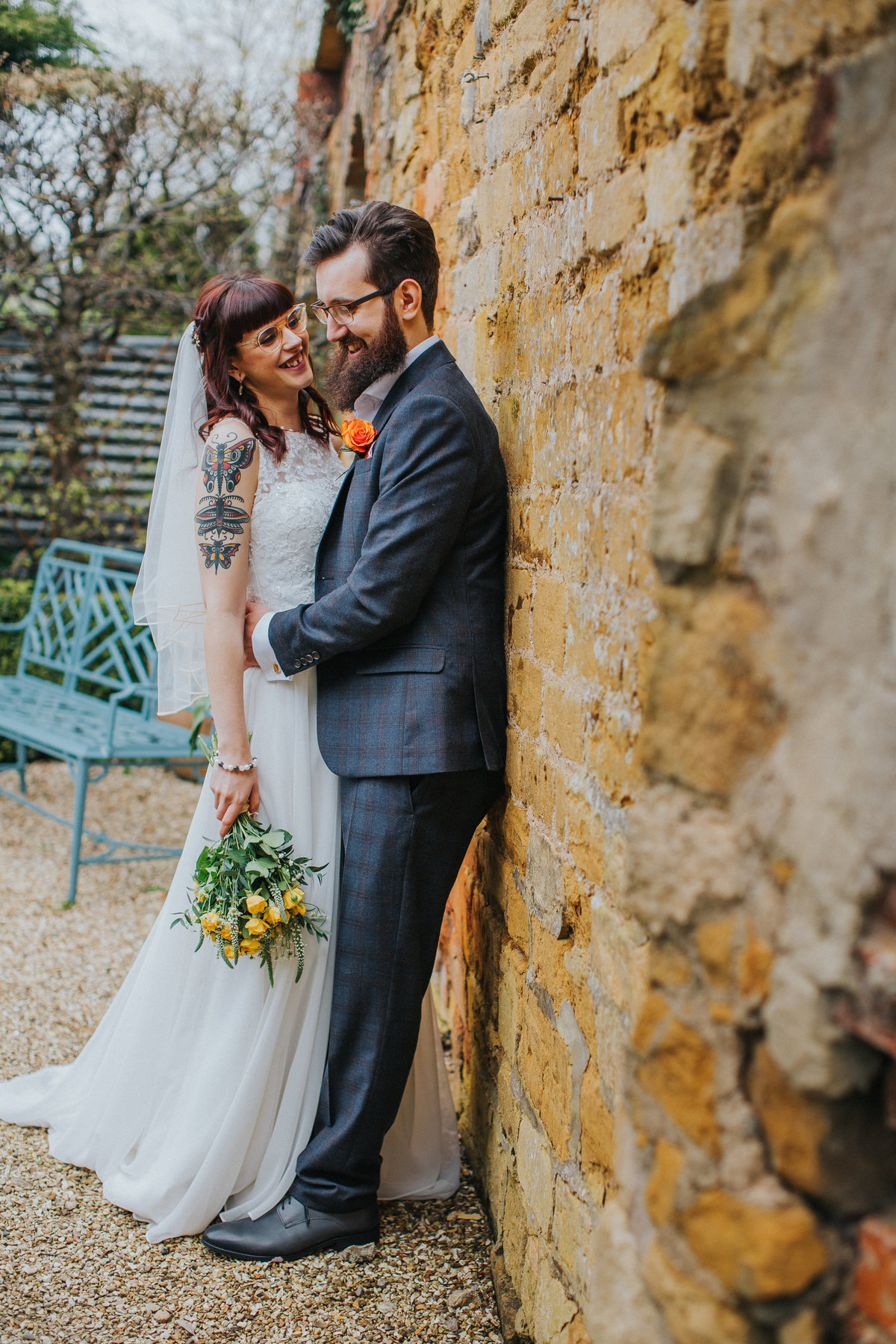 Tattooed bride in the cotswolds