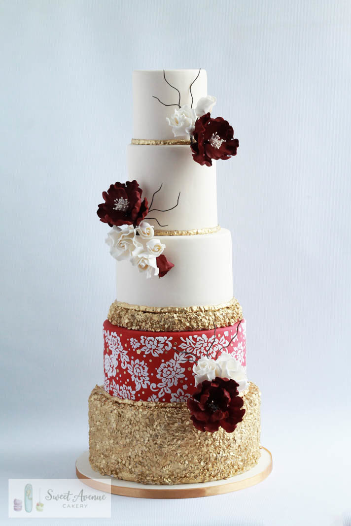 red and gold regal sequin and lace  wedding cake, Hamilton ON wedding cakes