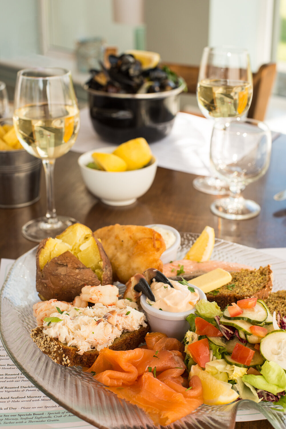 Colourful seafood platter for two with crab claws and salmon