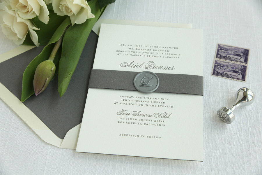 Classic Letterpress Grey Wedding Invitation