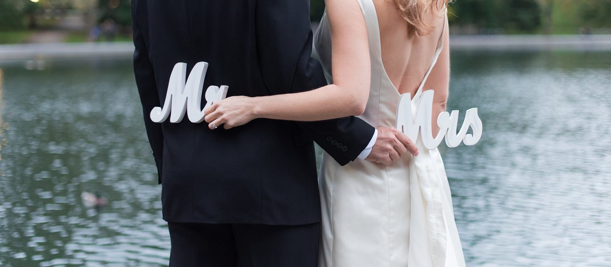 Bride and Groom holding Mr. and Mrs. Signs behind eachother's backs photo