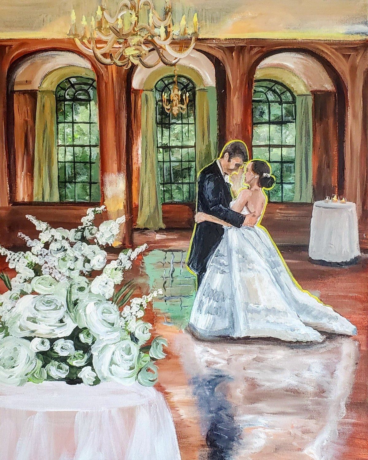 Live wedding painting of a bride and groom sharing their first dance at the Baltimore Country Club in Baltimore Maryland