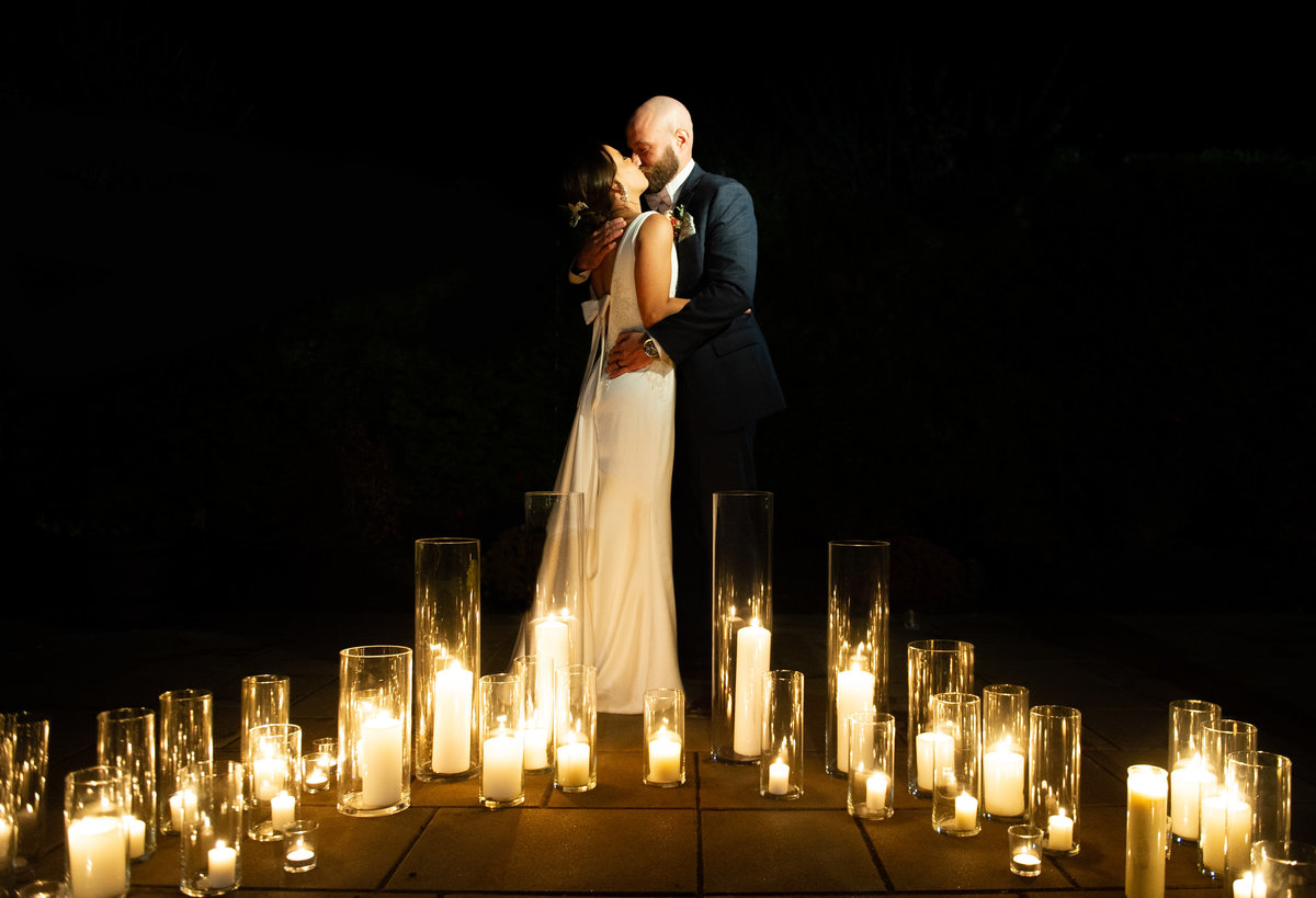 romantic candle lit photo at wedding