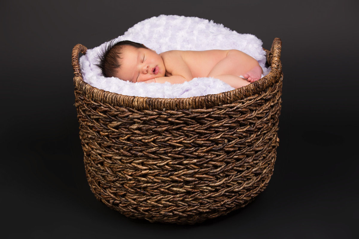 Baby in Basket and Blanket